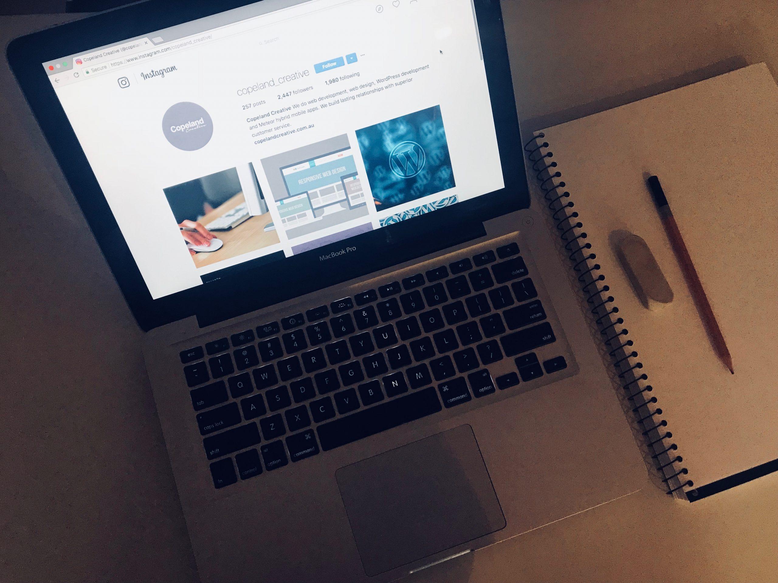 Instagram for business on laptop